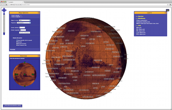 Lunaserv screen shot with Mars day/night shading